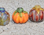 RESERVED for Denise - Pumpkin Patch 5 - Lampwork Beads SRA - Perfect for Halloween, Fall Creations