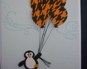 Floating Penguin Birthday Card