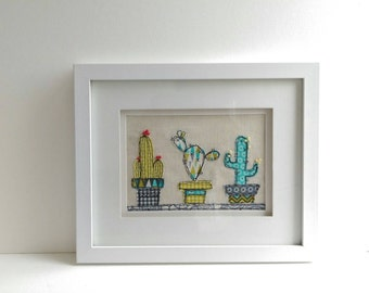 Cactus Freehand Machine Embroidery Framed Art