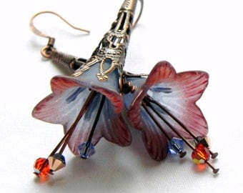 Lucite Trumpet Flower Earrings - Rust, Smokey-Grey and Blue - Copper Filigree Cone
