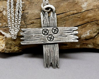 Rustic Cross Necklace, Sterling Silver, Wooden Cross, Gift for Men, Rustic Jewelry