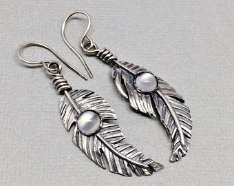 Sterling Silver Feather Earrings, Moonstone Gemstone Earrings, Western Dangle Earrings, Boho feather, Tribal feathers