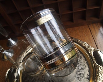 Culver 22k Gold Silver Double Old Fashion Rocks 4 Tumblers in Box