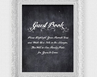 wedding bible guest book instruction sign - printable file - faux chalkboard wedding reception signage highlight verse, Christian religious