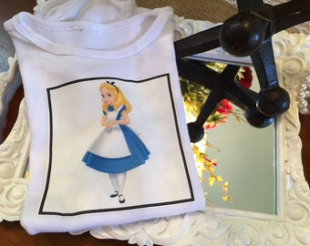 Alice in Wonderland Onesie/Body or T-Shirt for Baby and Toddlers.