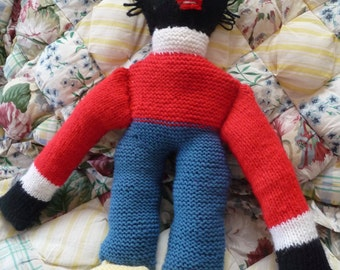 "Vintage Knitted 20"" Golly/Golliwog Doll Owned by a 94 Year Old English Woman"