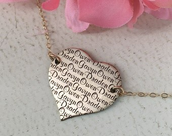 Gold solid heart personalized name necklace - Personalized heart necklace - Sterling Silver or Gold-filled option - Family name necklace