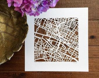 Paris or Bordeaux, France hand cut map ORIGINAL 10x10