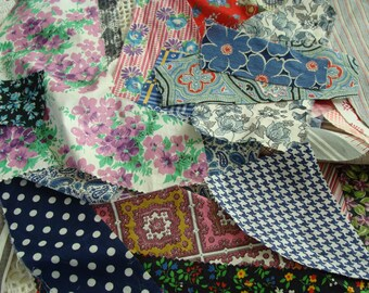 From Grandmas Scrap Pile ~ 1940's ... 1960's Vintage Cotton Fabric ... Feedsack  ~ For that little project ~ Quilt