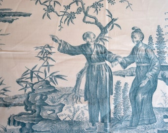 Scalamandre Fabric - Teal Chinoiserie Toile Canton Scene - Large Sample Panel - 56 x 40