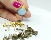 25% OFF Medium Silver/Gold/Bronze  Bead Caps for Pendants