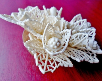 "Vintage  Antique CELLULOID FLOWER BROOCH-3 1/2"" Lovely Carved 6 Tiered Victorian Floral Motif Bridal Pin Brooch"