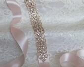 Rose Gold Crystal Rhinestone Bridal Sash,Wedding sash,Bridal Accessories,Bridal Belt and sashes,Ribbon Sash,Style #35