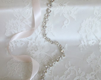 Silver Crystal Rhinestone Bridal Sash, Wedding sash,Bridal Accessories,Bridal Belt,Style #31