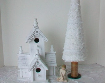Tabletop Christmas tree Vintage lace ornament Cottage chic holiday decoration Vintage wooden thread spool