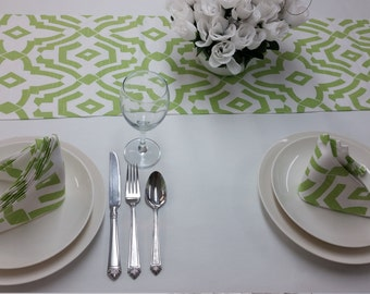 "Christmas tablerunner, Set of 8 dinner napkins and 108"" Tablerunner, kiwi green and white chevelle, 634"