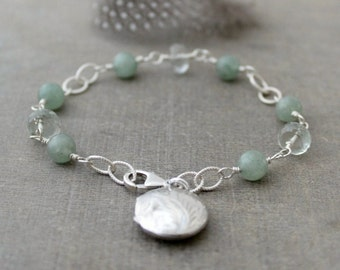 Sterling Silver Bracelet, Sterling Silver Locket Bracelet, February Birthstone Bracelet, Round Locket Sage Green Gemstone Bracelet Push Gift