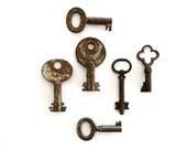 6 vintage skeleton keys Antique skeleton keys Old skeleton key Small skeleton key Skelton keys Instant collection of keys Key variety bit 6T