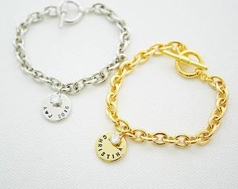 Monogram Bracelet, Personalized Bracelet, Initial Bracelet, Friendship Bracelet, Bridesmaid Gifts, Christmas gift for her, monogram jewelry