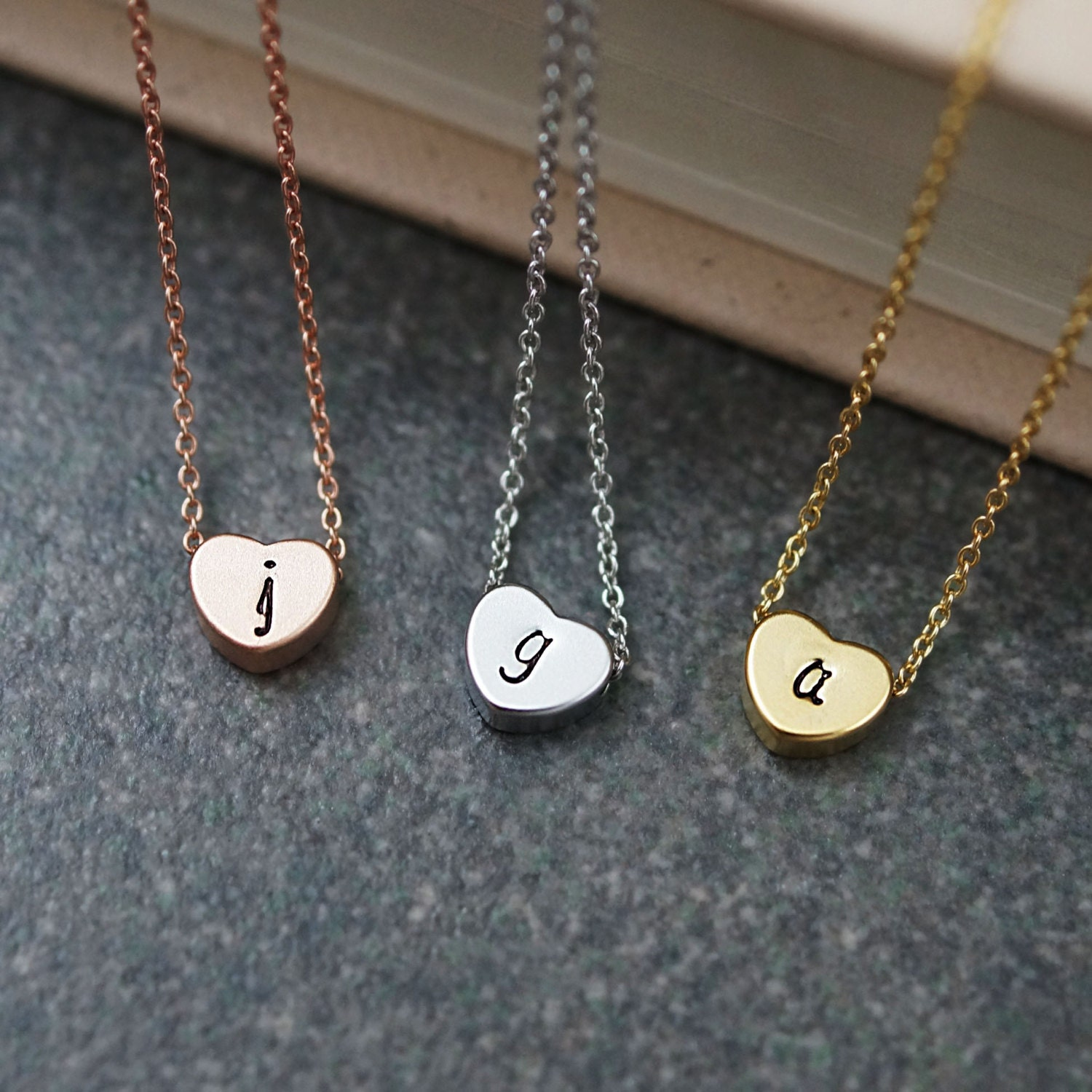dainty heart necklace initial necklace personalized necklace
