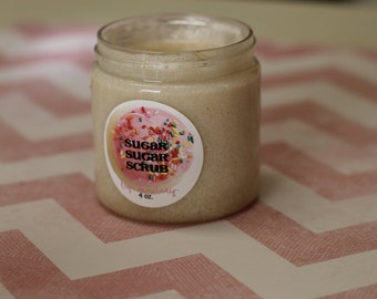 COTTON CANDY Whipped Cream Sugar Scrub - 4 oz. Jar Made with Organic Sugar and Whipped Shea Butter