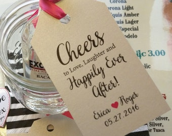 Love Laughter, Happily Ever After, Custom Tags, Wedding Tags, Cheers, Mini Bottle Tags, Wedding Favor Tags, Thank you tags, Kraft Favor Tags
