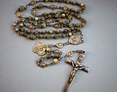 Antique French Sterling and Mother of Pearl Rosary with Silver Medals / Passion of Christ Relic Rosary / Saint Anne d'Auray