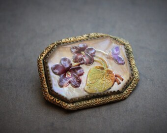 Antique Edwardian Goofus Glass Violet Brooch / Reverse Painted Glass / Essex Crystal Jewelry