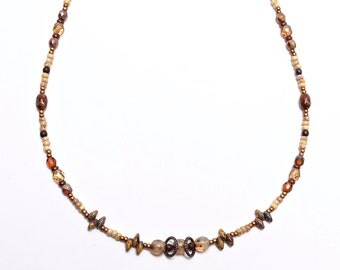 Beaded Glass Necklace, Wrap Boho Bracelet, Butterscotch