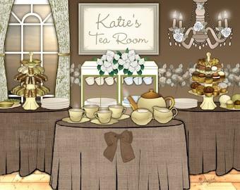 "Personalized kitchen print / tea room / English tea / British art / tea lovers / gift idea housewarming // cottage chic decor // ""tea party"""