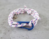 Cord Tiga - white dora sailing cord wrap bracelet with clasp, adjustable size