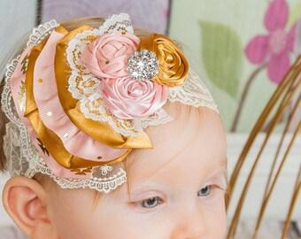 Infant Fabric Flower Rosettes Headband, Gold, Light Pink, Cream Satin, Lace Newborn Girl, photo prop, baby shower gift, Baby Pink, gemstone