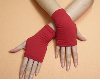 Short Red Fingerless Gloves Thin Rockabilly Armwarmers Biking Mittens Skater Cycling Arm warmers Cyber Punk Boho Palm covers Armstulpen