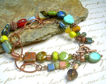 Copper Chain And Czech Bead Bracelet With Multi Colored Beads & Gemstones