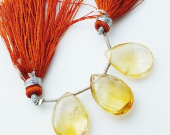 Big Size! Citrine Faceted Briolettes Qty 3