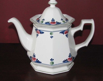 Vintage Adams hand-decorated English ironstone tea pot