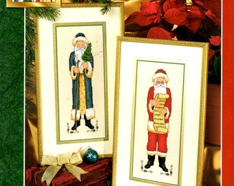 Victorian Santas Red Green Coat Black Boots Fur Trim Christmas Tree List Names Counted Cross Stitch Embroidery Craft Pattern Leaflet 03-181