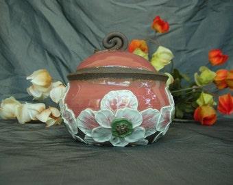 Ceramic Sugar Jar, Honey Pot, Jam Crock in Dusk Rose with White Poppies on Black Mountain