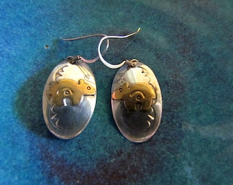 Southwestern Sterling Silver & Gold Filled Oval with Bear Figure