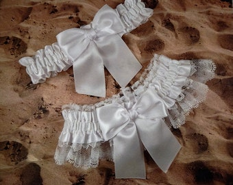 White Satin White Lace All white Wedding Bridal Garter Toss Set