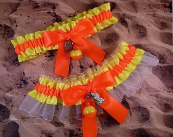 Fishing Neon Yellow Satin Neon Orange Satin Ivory Organza Fish Bobber Charm Wedding Bridal Garter Toss Set