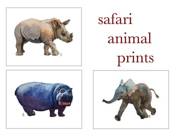 Nursery Decor SET OF THREE, Safari Animal prints, Elephant, Hippo, Rhino, Boy's Room decor, Zoo animal prints, African Animals prints