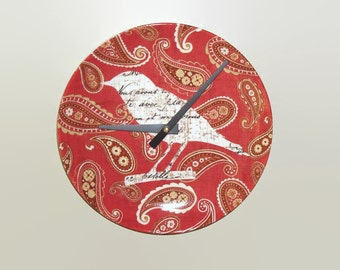 Bird Wall Clock in Rusty Red Paisley, Boho Plate Clock, Unique Wall Clock, Bird Clock, Boho Wall Decor, Rust Clock 1409