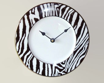 NEW!  Black and White Zebra Wall Clock, African Animal Print Clock, SILENT Porcelain Plate Clock, Unique Wall Decor, Kitchen Clock  2053