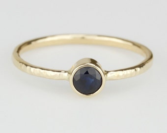 Blue Sapphire Ring - Genuine Deep Blue - Simple Solid 14k Rose or Yellow or White Gold Ring - Stacking Ring with September Birthstone