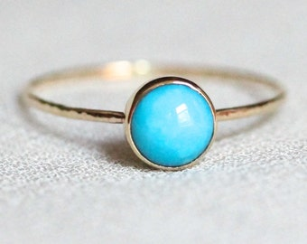 Delicate 14k Gold Sleeping Beauty Turquoise Stack Ring - Simple Solid Gold Dainty Turquoise Stack Ring with Hammered Band - Delicate Jewelry