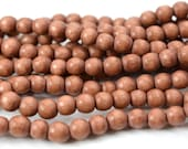 6mm Round   Wood  Beads, Rose,   1mm Hole,   70 pc  Strand, Natural Wood -B482