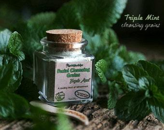 Triple Mint Facial Cleansing Grains. Peppermint, Melissa, Spearmint - for triple refreshment. VEGAN face wash.