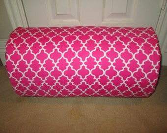 MONOGRAMMED Children THICK COMFY Nap Mat PreSchool Pink White Lattice with Attached Cuddle Double Sided Minky Blkt and Pillow