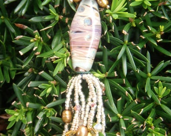 Handmade Borosilicate glass pendant, with Pearls, Feldspar, Swarovski and More!